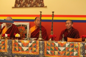 Monks chanting during Puja.